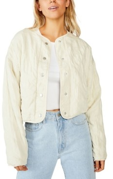 Cotton On Cropped Quilted Bomber Jacket