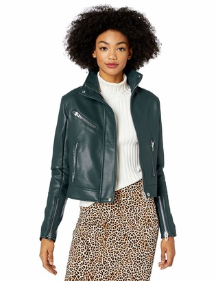 Blank NYC Women's HIGH Collar Vegan Leather Moto Jacket Outerwear
