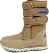Sakura Beige Double-Strap Snow Boot