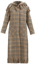 Thumbnail for your product : Sara Lanzi Fringed Checked Wool-blend Hooded Coat - Black Cream