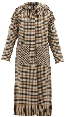 Sara Lanzi Fringed Checked Wool-blend Hooded Coat - Black Cream