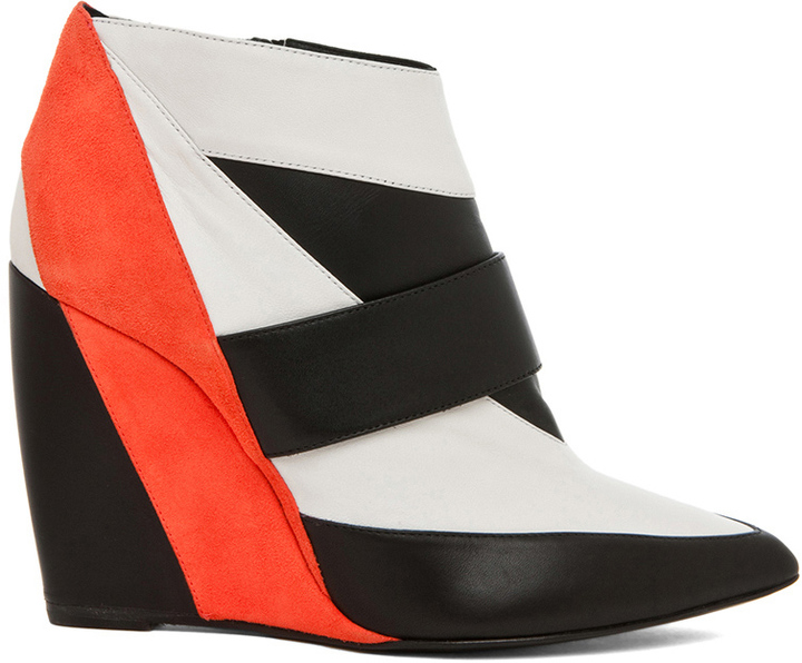 Pierre Hardy Calfskin & Nappa Leather Colorblock Wedges
