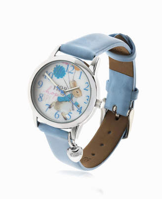 Beatrix Potter Children Peter Rabbit Silver Steel Case and Light Blue Leather Watch 28mm