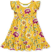 Millie Loves Lily Girls' Casual Dresses - Yellow Phoebe Floral Angel-Sleeve Dress - Toddler & Girls