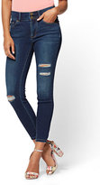 New York & Co. Soho Jeans - Destroyed High-Waist Curvy Ankle Legging - Flawless Blue Wash