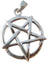 Himalayan Treasures Large 925 Sterling Silver Wicca Inverted Pentagram Pendant Necklace A15