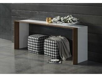 Modloft Black Beckenham Console Table Black Color: White Lacquer / Walnut