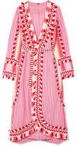 Dodo Bar Or - Tasseled Striped Cotton-gauze Wrap Dress - Pink
