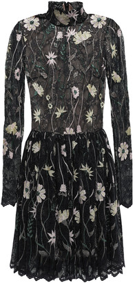Giambattista Valli Gathered Embroidered Metallic Lace Mini Dress