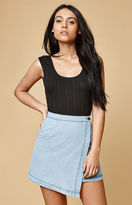 MinkPink Float Denim Wrap Mini Skirt