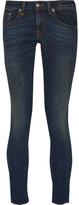 R 13 Kate Cropped Low-rise Skinny Jeans - Dark denim