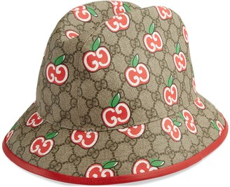 Gucci Canvas fedora with GG apple print