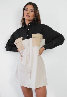 Missguided Stone Colourblock Pocket Shirt Dress