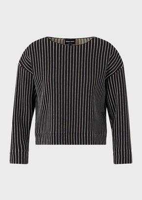 Giorgio Armani Sweater In Pinstripe Jacquard Jersey