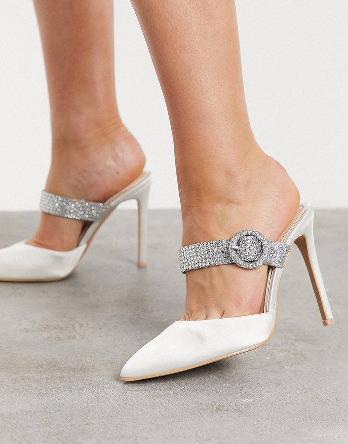 Be Mine Bridal Mihika embellished heeled mules in ivory satin
