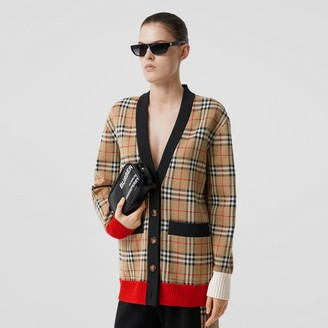 Burberry Vintage Check Merino Wool Blend Jacquard Cardigan