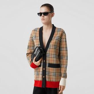 Burberry Vintage Check Wool Blend Jacquard Cardigan