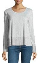 Ella Moss Pleated Long-Sleeve Top, Heather Gray