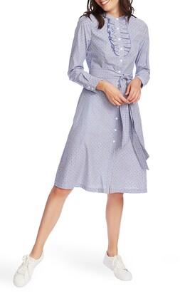 Court & Rowe Ruffle Placket Flocked Dot Pinstripe Long Sleeve Cotton Shirtdress