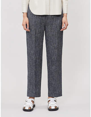 Theory High-waisted linen-blend trousers