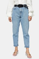 Topshop Womens Petite Bleach Mom Tapered Jeans - Bleach Stone