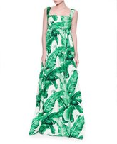 Dolce & Gabbana Banana Leaf-Print Maxi Tank Dress, White/Green