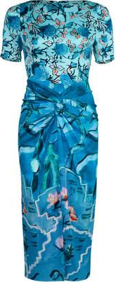 Peter Pilotto Printed Silk Twist Dress