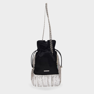Les Petits Joueurs Nano Trilly Evening Clutch In Black Satin With Mul