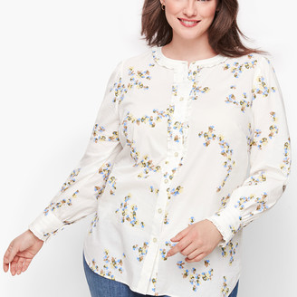 Talbots Pleated Trim Floral Shirt