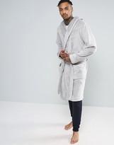 Asos Hooded Fleece Robe In Gray