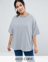 Asos Short Sleeve Oversized Stripe Top