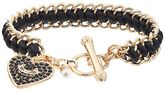 Juicy Couture Heart Charm Woven Toggle Bracelet