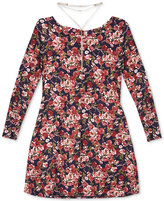 Amy Byer Floral-Print Prairie Dress & Necklace Set, Big Girls (7-16)