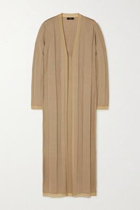 Theory Stretch Silk-trimmed Wool-blend Cardigan