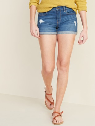 Old Navy Mid-Rise Distressed Boyfriend Jean Shorts for Women -- 3-inch inseam