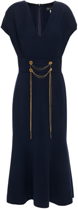 Oscar de la Renta Fluted Embellished Wool-blend Midi Dress