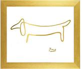 "Buyartforless Framed, Pablo Picasso The Dog Imitation in Gold by Kelissa Semple, 11"""
