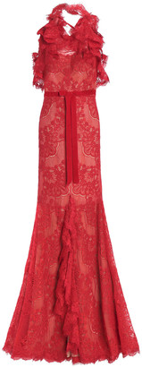 Marchesa Split-front Ruffled Corded Lace Halterneck Gown