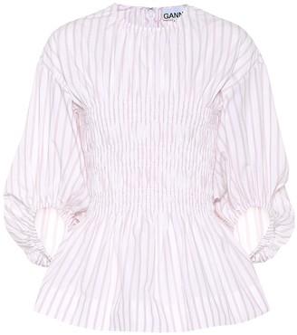 Ganni Striped cotton-poplin blouse