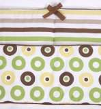 Bacati Modern Dots/Stripes Green/Chocolate Bumper Pad