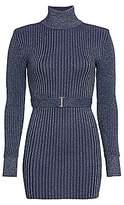 Herve Leger Women's Glitter Rib-Knit Belted Mini Turtleneck Sweater Dress