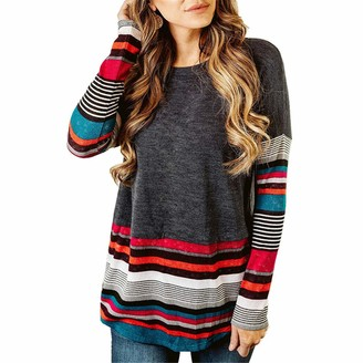 Zytyeu Women T-Shirt Women Tops Elegant Chic Round Neck Stripes Splicing Fashion Casual Autumn Long Sleeve Loose Comfortable Vacation Women Blouse Gray. XL