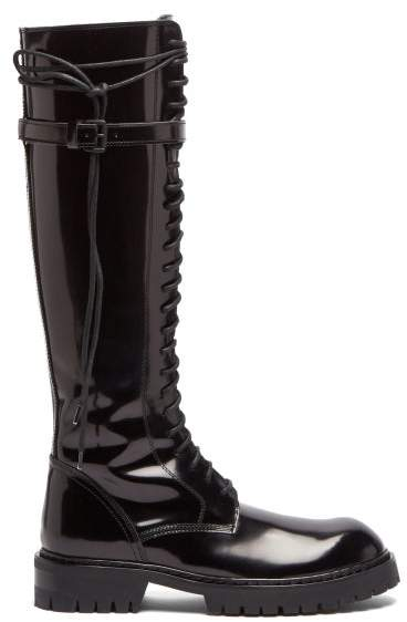 16a56757ee8 Knee High Lace Up Patent Leather Boots - Womens - Black