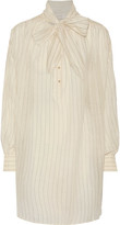 Zimmermann Oversized pussy-bow striped cotton and silk-blend shirt