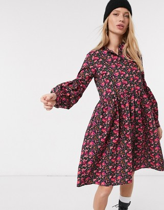 Y.A.S midi smock dress in burgundy floral
