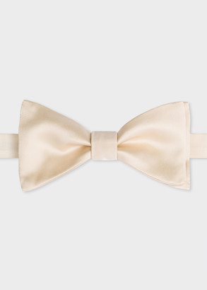 Paul Smith Men's Cream Silk Satin Bow Tie