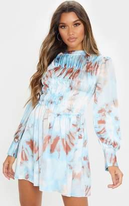 PrettyLittleThing Blue Tie Dye High Neck Shirred Bodice Long Sleeve Smock Dress