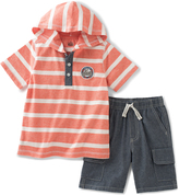 Kids Headquarters Coral Stripe Hooded Tee & Shorts - Infant Toddler & Boys