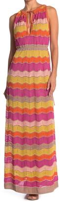 M Missoni Scallop Print Tie Neck Maxi Dress