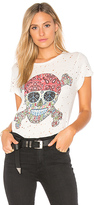 Lauren Moshi Bess Hippie Skull Vintage Tee in White. - size L (also in M,S,XS)